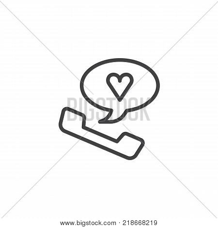Romantic phone call with heart inside speech bubble line icon, outline vector sign, linear style pictogram isolated on white. Favorite number symbol, logo illustration. Editable stroke
