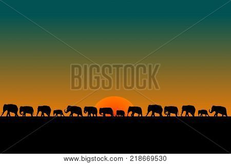 Illustration of  herd of elephants at sunset