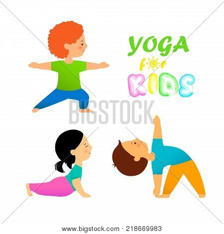 Yoga for kids flat vector illustration. Cute kids in different yoga poses on white background. Children practicing yoga.
