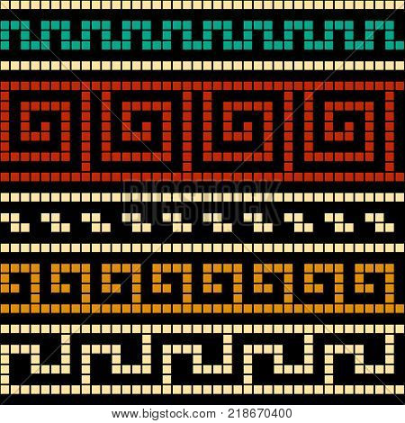 Red and golden geometric greek meander traditional seamless pattern, vector background