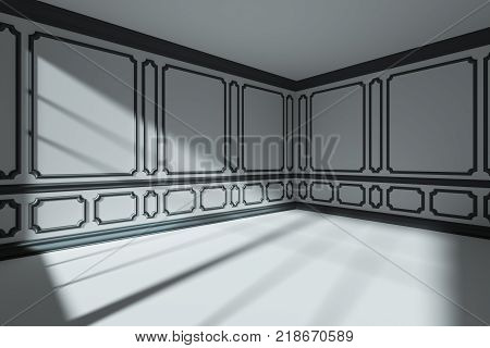 7b541cba193c Empty white room wall with sunlight from window with black decorative  classic style molding frames with