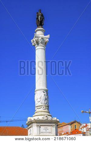 Column Pedro IV Rossio Square Lisbon Portugal. Rossio Square is main meeting spot in Lisbon. Column Pedro