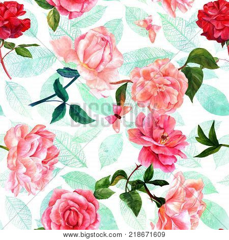 A seamless pattern with watercolor drawings of blooming red and pink roses, camellias, peonies, butterflies, and teal leaves. hand painted on a white background in the style of vintage botanical art
