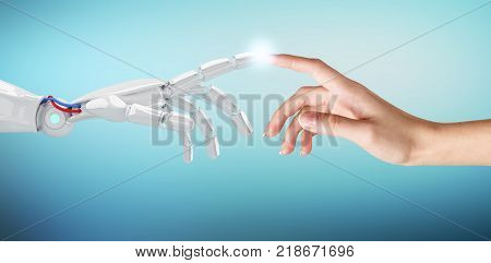 Human hand touching an android hand. Concept of contact human and technology. 3d rendering.