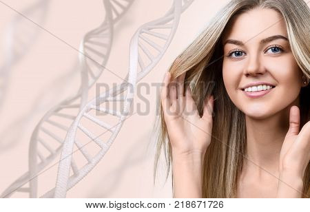 Young sensual woman in DNA chains over beige background. Biochemistry skin concept.