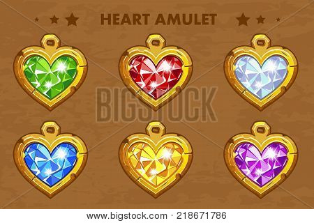Illustration cartoon golden heart love amulets with precious stones. Vector assets for game design.