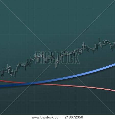 Uptrend stock market bars with long shadows on dark background. Color stock market graph. 3D illustration for option, forex, exchange