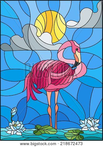 Illustration in stained glass style with Flamingo Lotus flowers and reeds on a pond in the sun sky and clouds