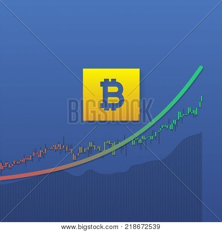 Bitcoin currency uptrend with stock market bars and long shadows on blue background. Market graph for option, forex, exchange
