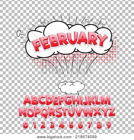 Comic lettering font February 3d. Vector alphabet.Hand Lettering script font. Typography alphabet for Designs: Logos, Packaging Design, Poster. ABC...