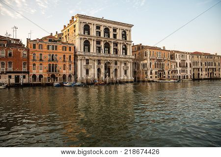 Beautiful view of the Grand Canal in the morning . Venice Italy .