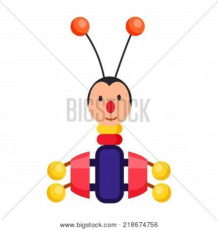 Child xylophone in form of beetle with long antennae and red balls on top isolated vector illustration on white background.