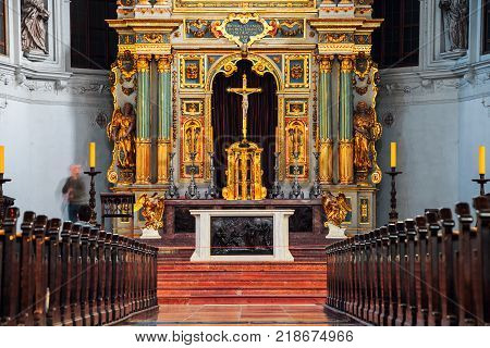 MUNICH, GERMANY - FEBRUARY 22, 2016: Inside a St Michael is a Jesuit church - triumph of Catholicism as true Christianity during the Counter-Reformation in Munich, Germany