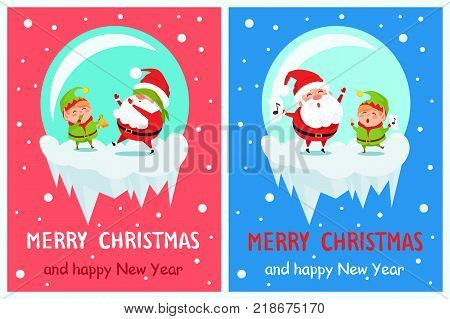 Postcard Merry Christmas Happy New Year Santa and Elf play hide-and-seek, singing carol songs vector cartoon characters in icy ball vector posters set