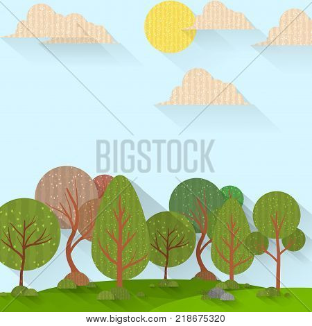 Sunny forest background. Vector illustration of woods in forest in sunlight background