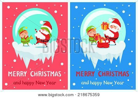Happy New Year Merry Christmas posters set Santa and Elf on icy cliff playing hide-and-seek, put presents into red sack winter cartoon characters