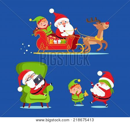 Santa Claus riding deer sledge with elf icon isolated on blue background. Vector illustration with Santa preparing for Christmas with help of his friend