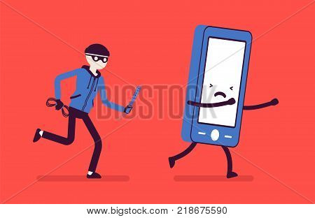 Phone theft attack. Masked man is trying to steal a mobile device without protection, target for muggers and pickpockets, gadget crime. Vector illustration with faceless characters