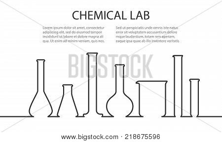 Banner from Laboratory glassware in linear style. Template for chemical researching. Vector illustration