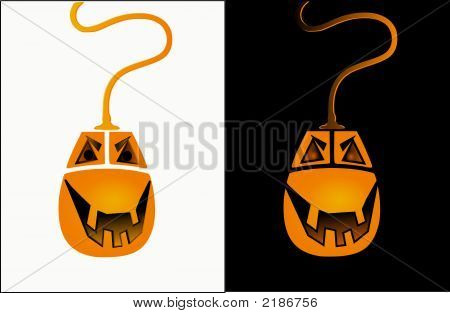 halloween mouse in two differnt version on white and blach funny and easy to use poster