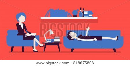 Female psychiatrist consulting. Medical practitioner treating patient on behavioral, mental health problems, office. Specialist helps with emotional disorders. Vector illustration, faceless characters