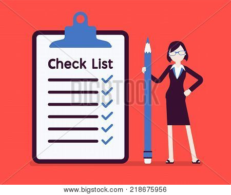 Giant check list. Young businesswoman with big list of things to be checked, items required, things to be done, office schedule reminder. Vector business concept illustration, faceless characters