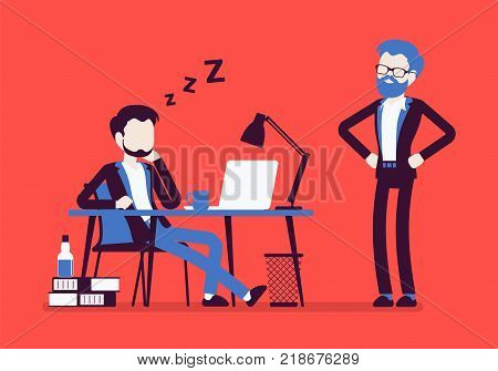 Sleep at office work. Young manager relaxing at workplace desk during working hours caught by boss, lazy employee, staff reduced productivity. Vector business concept illustration, faceless characters