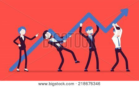 Raising the bar. Young businesswoman helps to successful activity of company, raising sales, increasing labor efficiency and development. Vector business concept illustration, faceless characters