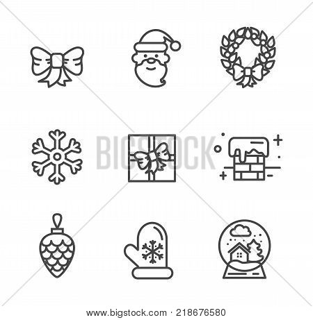 Set of transparent xmas icons isolated on white background. Vector illustration with happy smiling Santa, snowy chimney and gift box decorated with bow