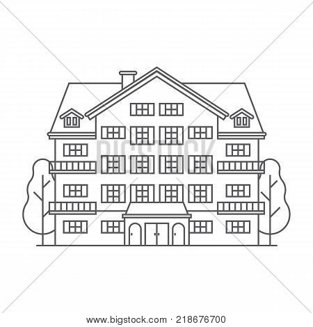 Abstract spa and ski resort icon in line art design. Monoline winter mountain hotel linear vector outline illustration. Snowy holiday inn building isolated on white background.