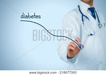 Reduction of the incidence of diabetes and diabetes prevention concept. Doctor (medical practitioner) draw descending graph of the incidence of diabetes.
