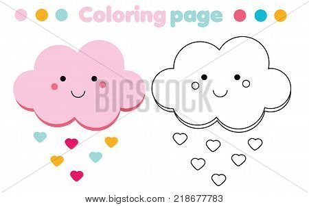 Coloring page with cute cloud. Color the picture. Educational children game, drawing kids activity, printable sheet