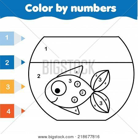 Children educational game. Coloring page with fish in aquarium. Color by numbers, printable activity, worksheet for toddlers and pre school age. Animals theme
