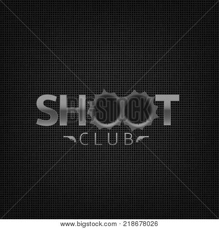 Shoot club emblem. Shooting range gallery logo sign