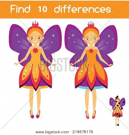Find the differences educational children game with answer. Kids activity sheet with beautiful princess flying fairy