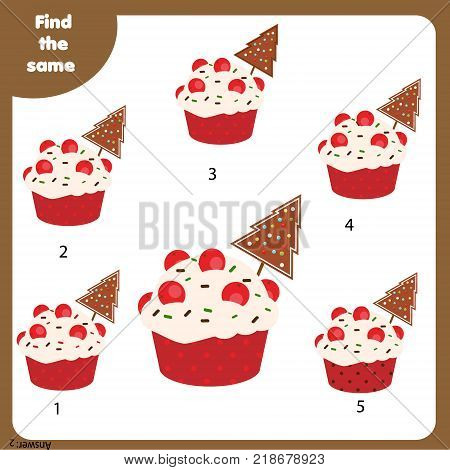 Find the same pictures children educational game. Find equal pairs of cupcakes kids activity. Christmas , New Year theme