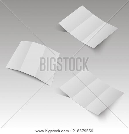 Blank three folded fold paper leaflet, flyer, broadsheet. Vector illustration.