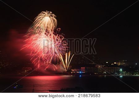 Fireworks over the city of Pattaya city,Thailand.tourist city,famous place in Thailand.