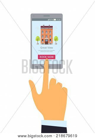 Book now hotel option with smartphone with hotel and huge button for booking online. Vector illustration of hand with device isolated on white background
