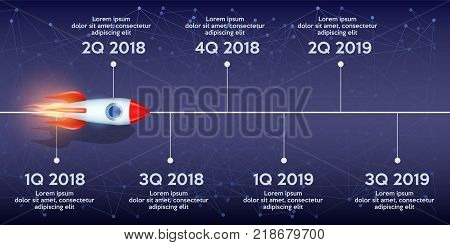 Business concept of timeline roadmap. Task execution plan in road map style. Wave path with rocket and points. Infographic for investors. Vector Illustration.