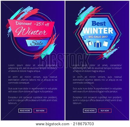 Winter sale discount -25 off, collection of internet pages with emblems, text and buttons, saying read more and buy now vector illustration