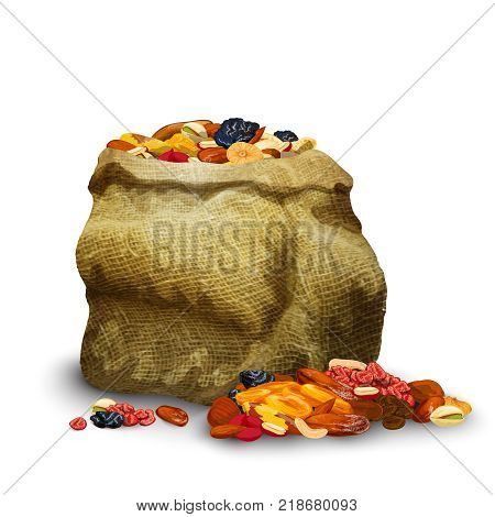 Dried fruits and nuts pieces in sack healthy nutrition vector illustration