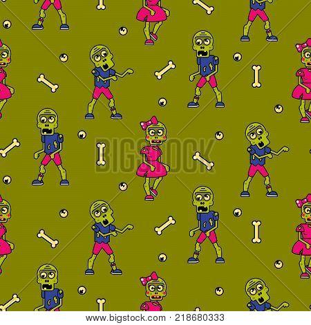 Zombie cartoon teen couple seamless pattern. Junior green background.