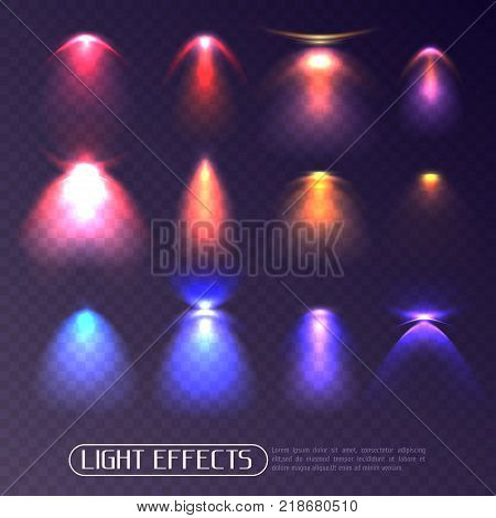 Set of colored artificial light effects of various intensity isolated on transparent background vector illustration