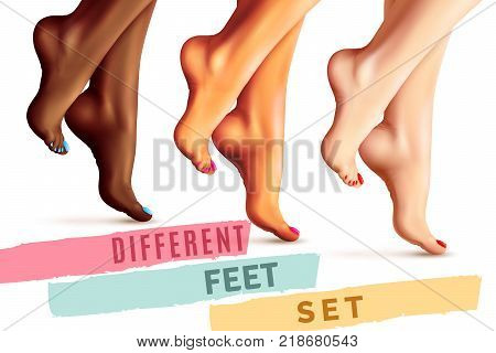 Set of female bare feet of different skin and nails colors isolated on white background vector illustration