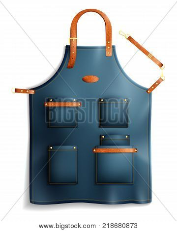Realistic professional unisex apron with pockets, metal clasps and leather straps isolated on white background vector illustration