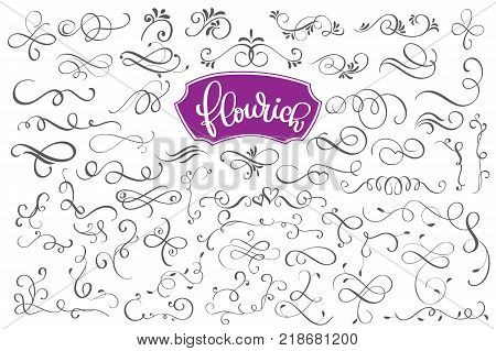 Flourich calligraphic design elements and page decoration for design greeting cards, tattoo, holiday invitations, photo overlays, t-shirt print, flyer, poster design, mug, pillow.
