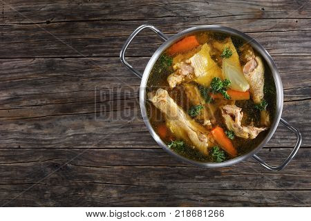 Clear Chicken Broth In A Pot