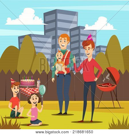 Orthogonal composition with happy fathers and kids including infant at bbq party during parental leave vector illustration