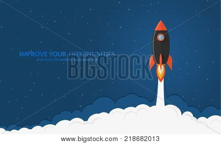Rocket launch background. Spaceship illustration with star backdrop